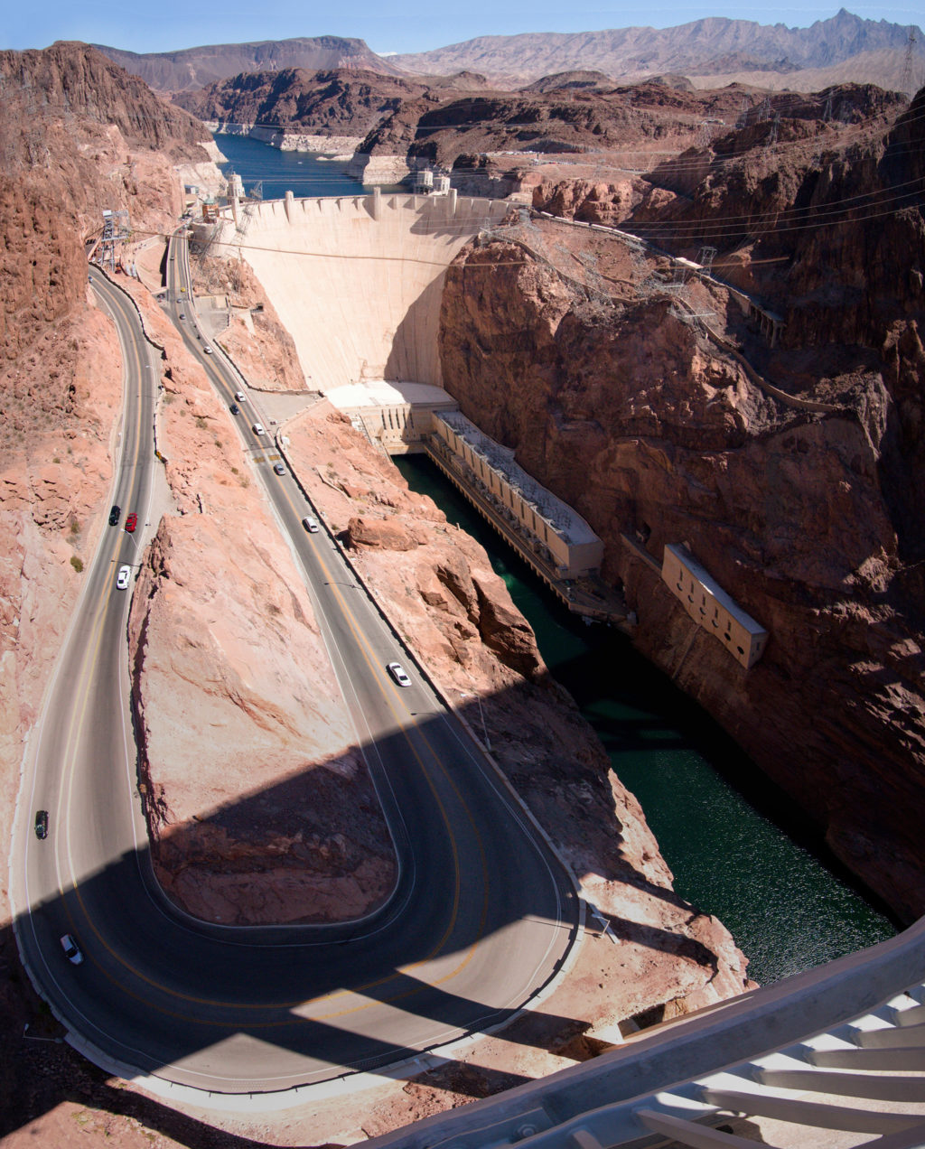 Hoover Dam and the long looped road going towards it