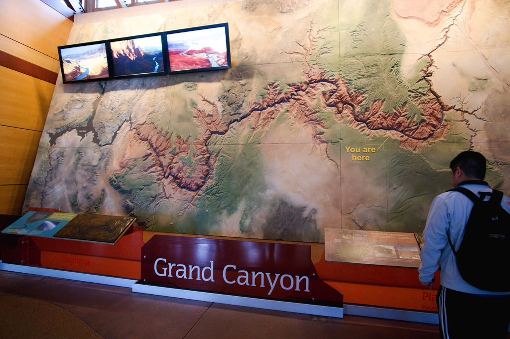 A huge map on the wall inside the Visitor's Center.