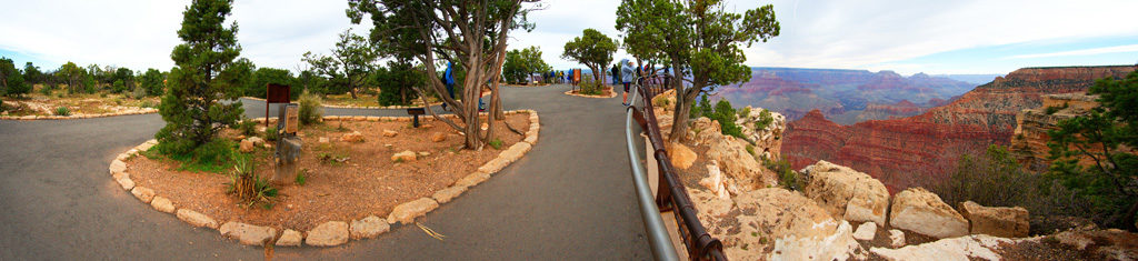 A panorama of the walkway at the view