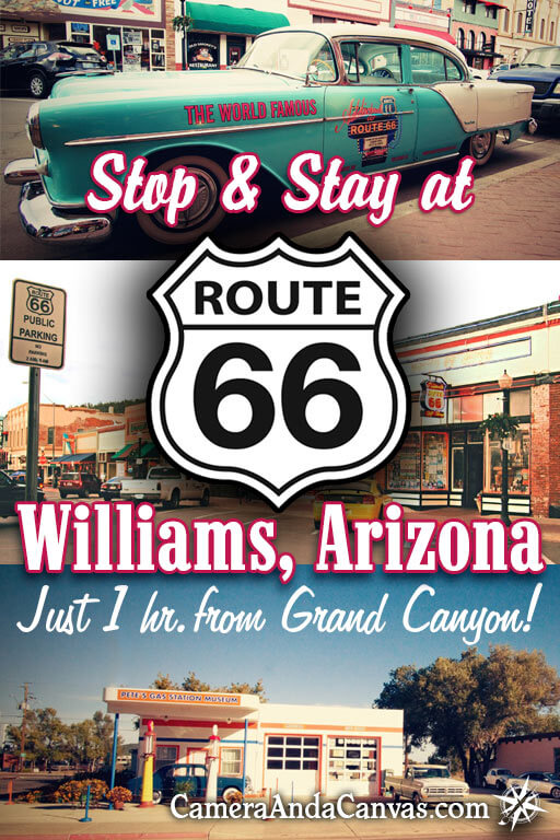 Route 66 Williams, Arizona offers great cheap places to stay near the Grand Canyon South Rim. It's the closest spot on Route 66 to the Grand Canyon, only 1 hour away! See the old Cars on Route 66, shop for souvenirs, visit the Grand Canyon Railway. There are hotels, motels, B&B's, even a hostel right in town! #Route66 #WilliamsArizona #GrandCanyonSouthRim