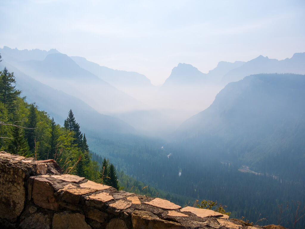 The Eastern Valley of Glacier National Park, driving along Going to the Sun Road.