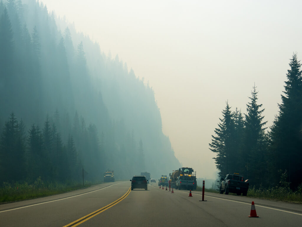 thick smoke on Trans Canada Hwy 1