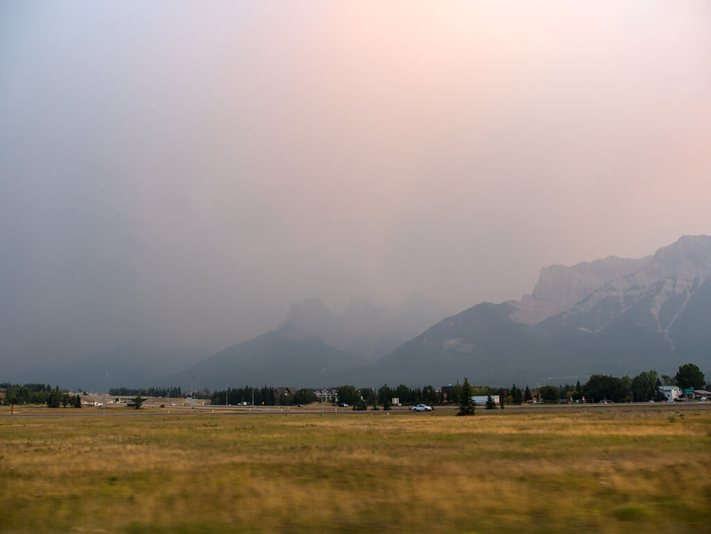 Smoke from wildfires in Canmore, Alberta