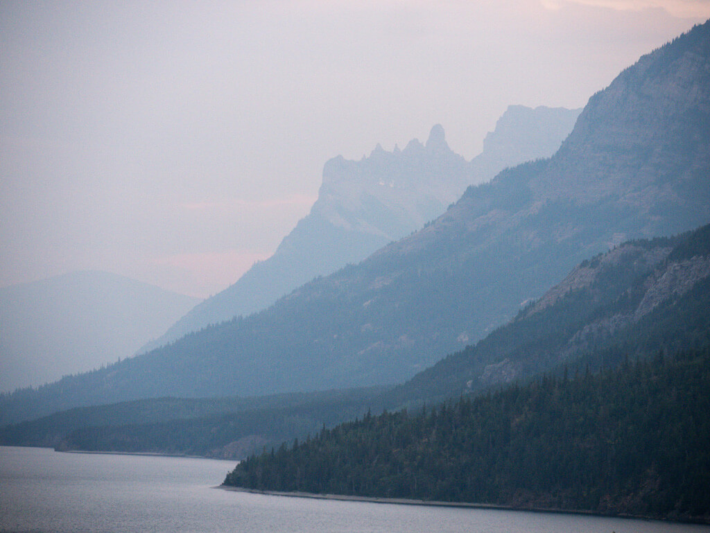 Waterton Lake smoke from wildfires