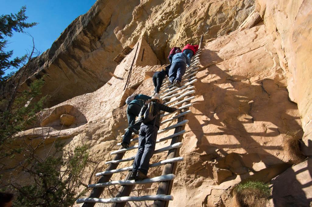 Balcony House ladder climb