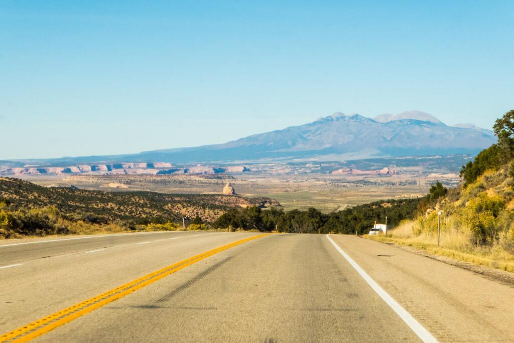 Driving towards Canyonlands Needles District