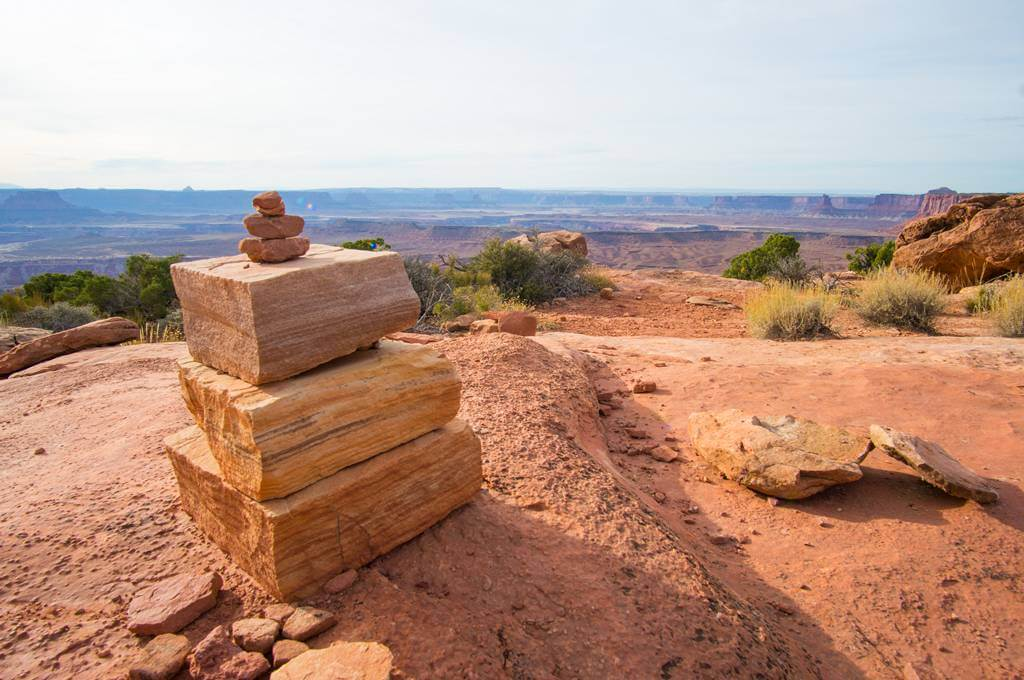 Cairns on Grand View Point Trail Canyonlands National Park