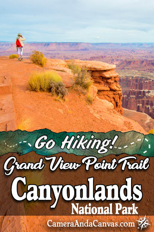 Canyonlands National Park Island in the Sky has so many fun hiking trails! Grand View Point Trail is awesome to walk down to see the sunset at the rim. Gorgeous views and overlooks the whole way, it's an easy trail that almost anyone can do! #hiking #Canyonlands #CanyonlandsNationalPark #NationalParks #Utah #Moab #hikes