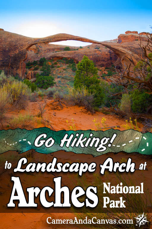 Landscape Arch is located in Arches National Park, just outside of Moab, Utah. It's one of the world's longest arches and has become quite fragile, it can collapse at any time! So if you're going to Arches, I highly recommend this moderately easy hike to the arch. #ArchesNationalPark #Arches #LandscapeArch #hiking #deserts #landscapes #moab #utah