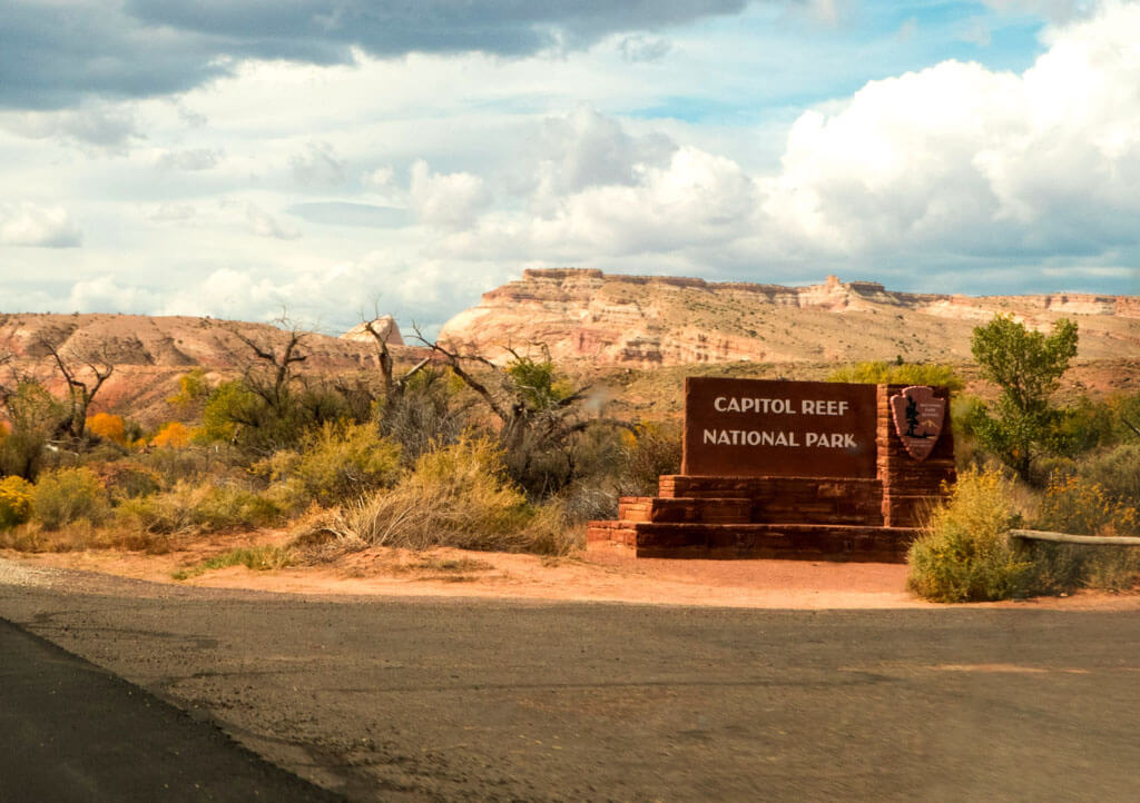 Capitol Reef National Park Entrance Sign