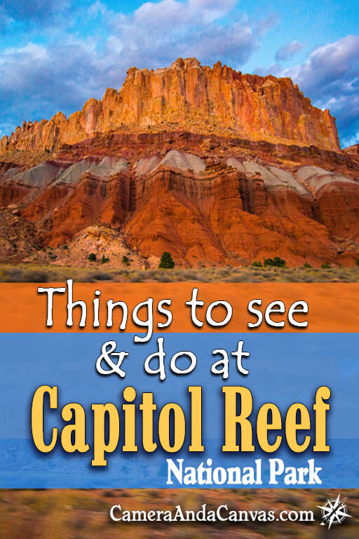 Capitol Reef National Park is located in Fruita, Utah. There are lots of hiking trails, petroglyphs to see, and the Waterpocket fold, an amazing red colorful rock formation. Places to stay are in Torrey, or camping in the park! #CapitolReef #NationalParks #Utah