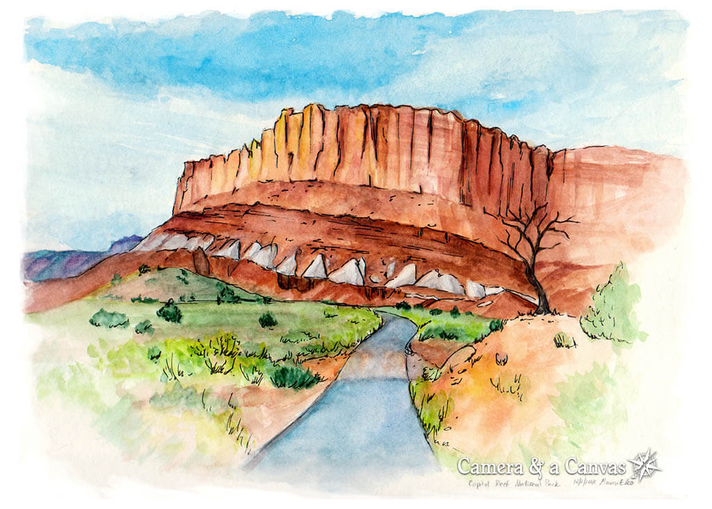 capitol reef national park watercolor painting