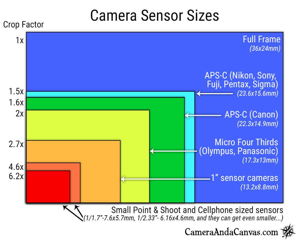 Camera sensor sizes comparison. Full Frame, APS-C(Nikon, Sony, Fuji, Canon), Micro Four Thirds(Olympus, Panasonic)