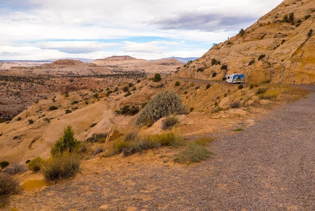 Utah route 12 road with RV