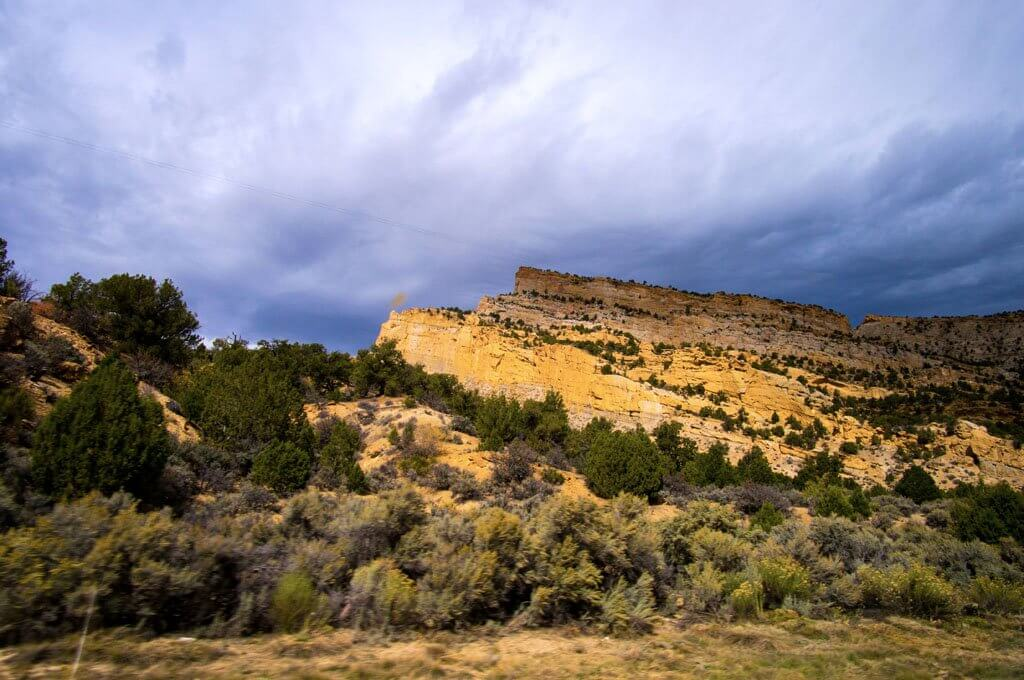 Utah Rock Formations with stormy skys