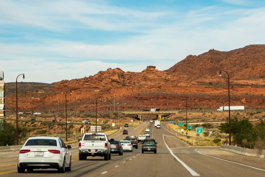 Driving near St. George Utah and Interstate 15