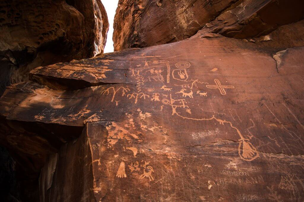 petroglyphs at Atlatl Rock