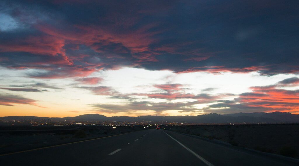 sunset over Las Vegas