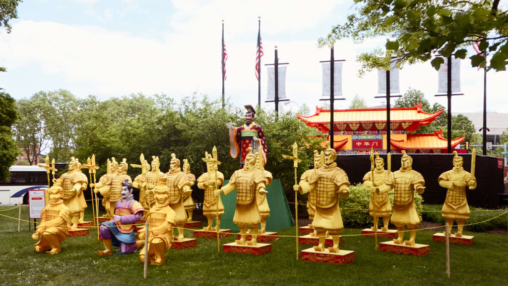Chinese Lantern Festival 2017, Franklin Square, Philadelphia. Photo of the Terra Cotta Army lantern display.