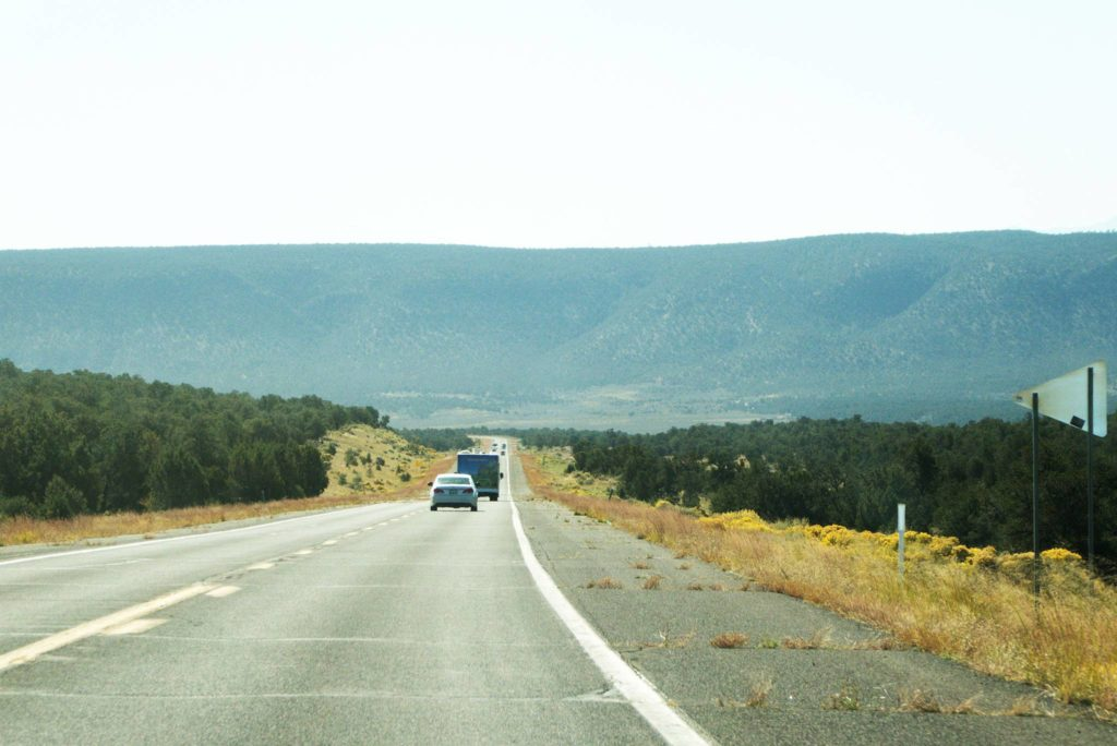 The view of the road after leaving Grand Canyon South Rim
