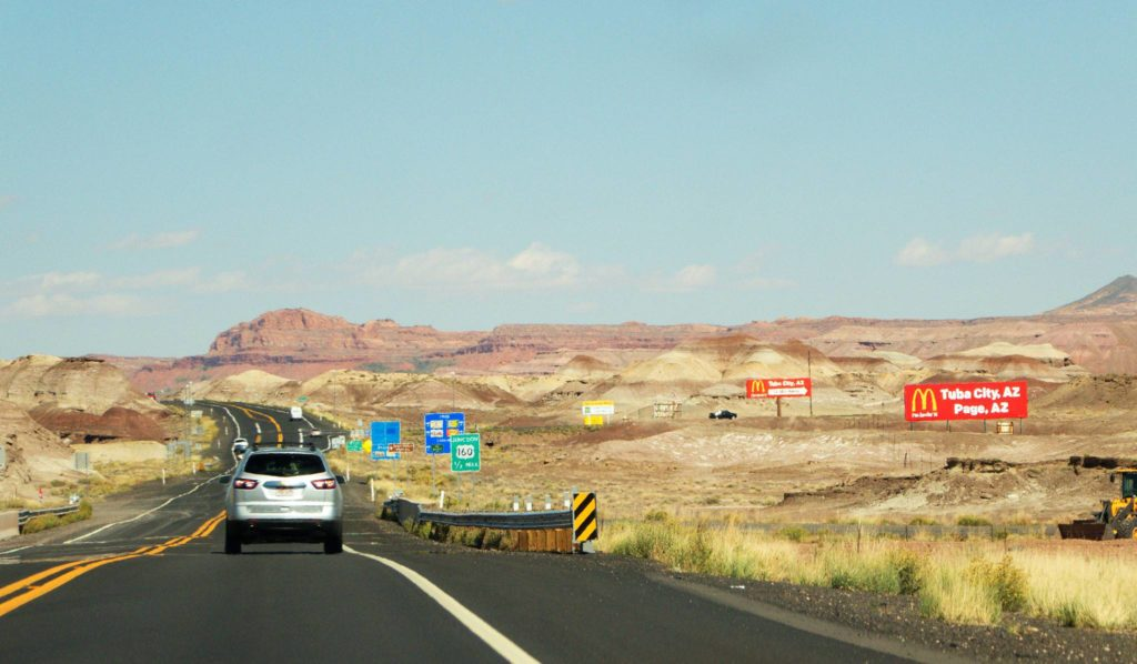 Route 160 towards Monument Valley.
