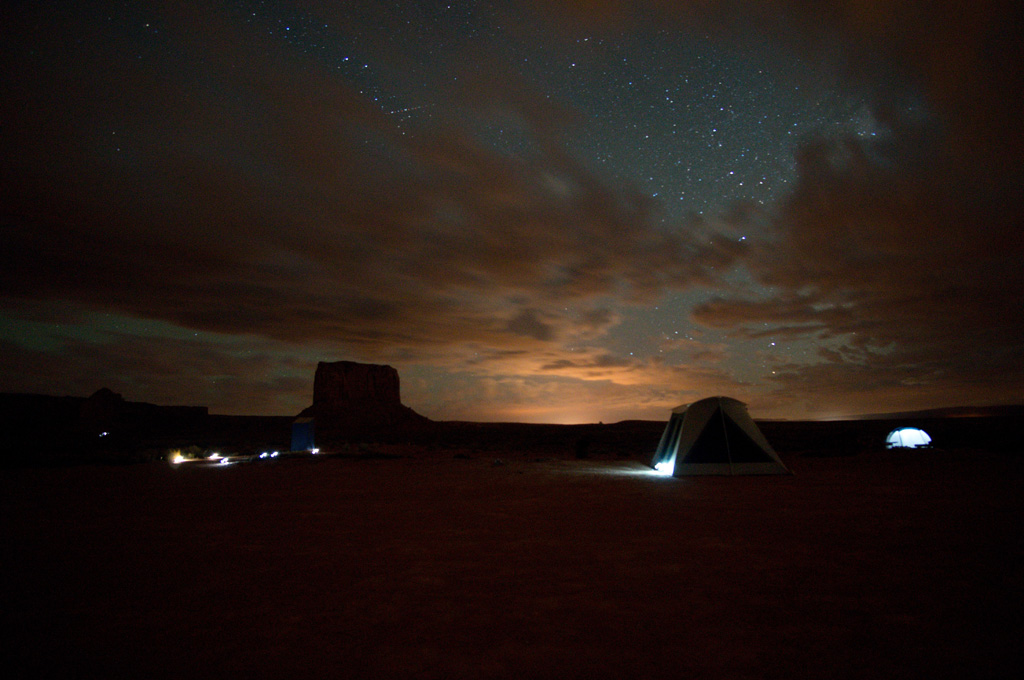 Monument Valley campground at night
